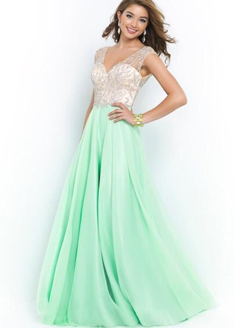 dress mint champagne long