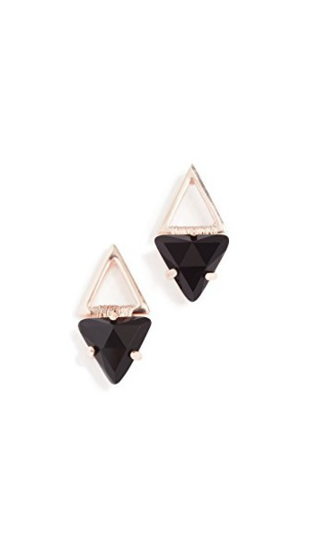 Rebecca Minkoff geometric earrings stud earrings rose gold rose gold black jewels