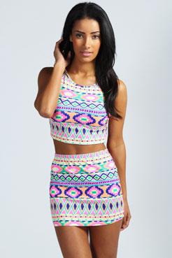 Monica Neon Bright Aztec Print Mini Skirt at boohoo.com