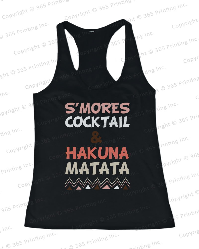 Women's Beach Tank Tops s'mores Cocktail and Hakuna Matata Pink | eBay