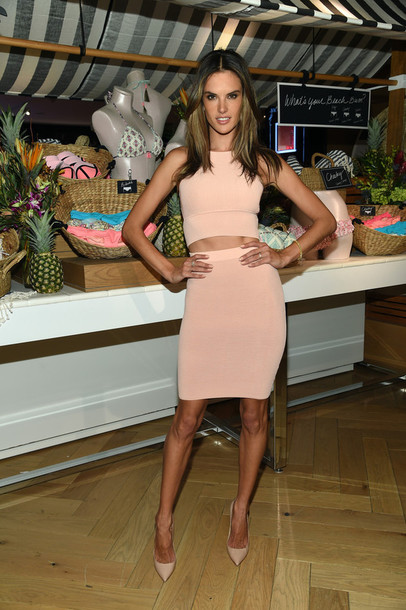 top crop tops nude two-piece skirt pencil skirt alessandra ambrosio