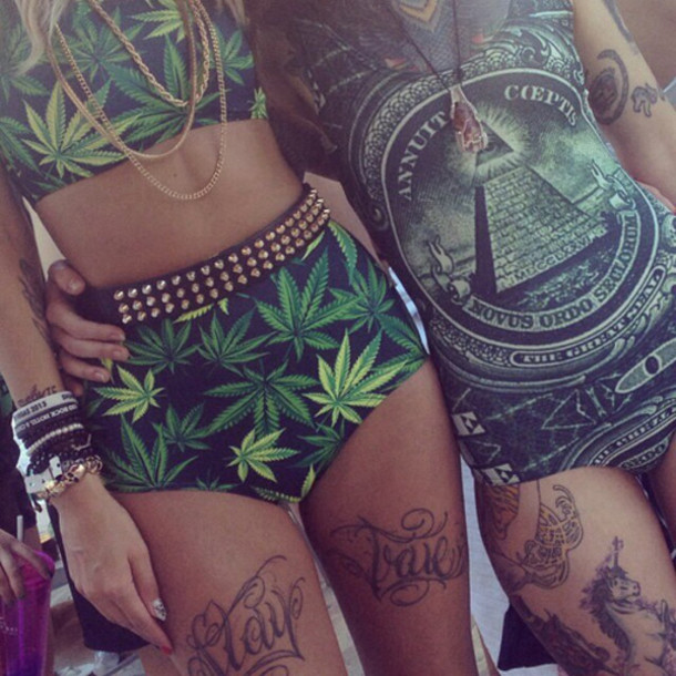 weed studs dollar one piece matching set dope dope wishlist gold necklace stacked bracelets swimwear leaves tattoo high waisted bikini green cannabis clothing belt shorts outfit bold bff bff money