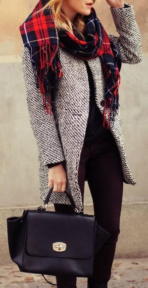 bag black grey black bag coat grey coat bag