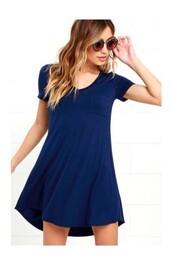 dress,pockets,cotton,blue,blue dress