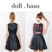 dress,vegan leather,faux leather,bohemian dress,sleeveless,fashion,shopdollhaus,black dress,skater dress,embroidered
