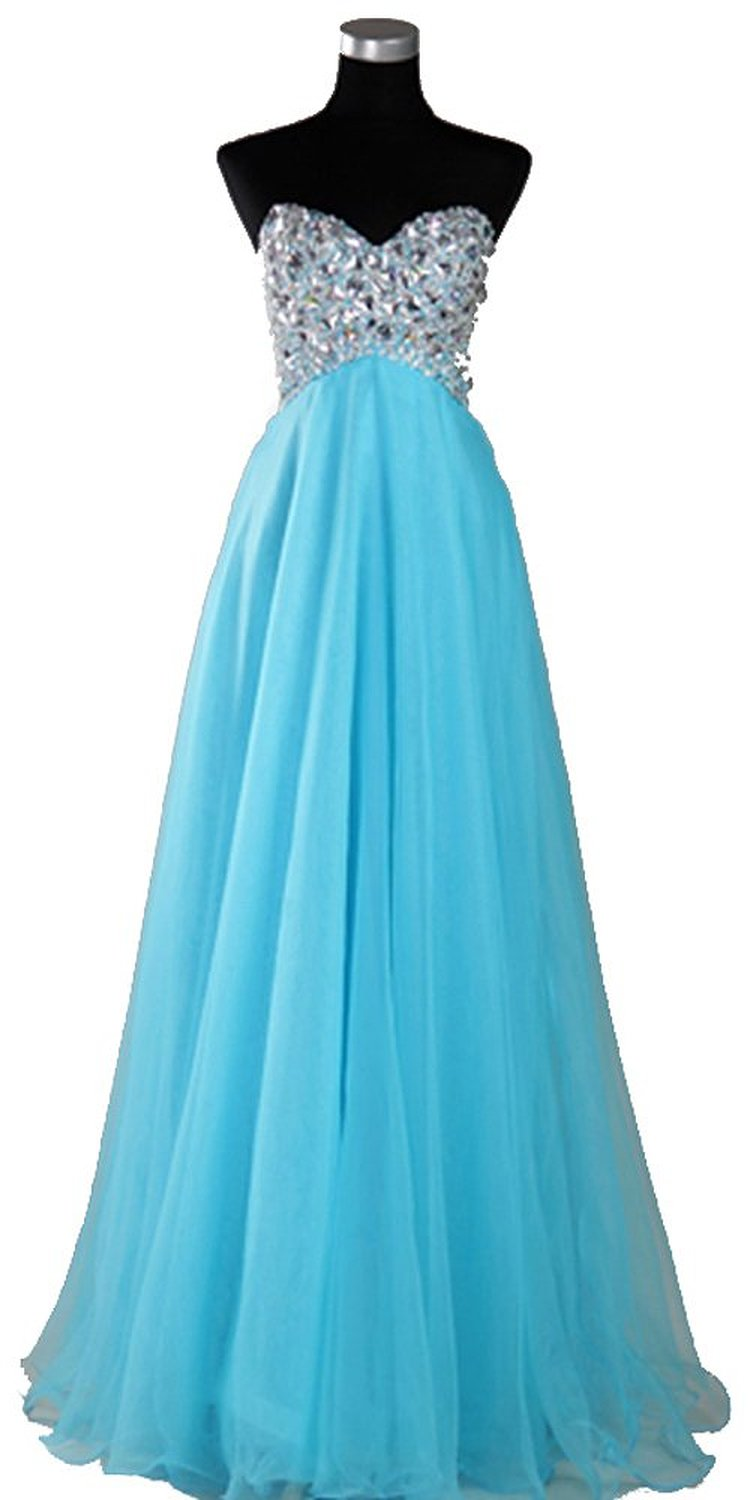 Amazon.com: Light Blue Organza Sweetheart Rhinestone Empire Prom Gowns: Clothing
