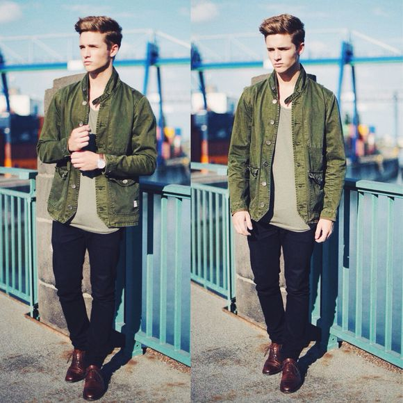 jacket black pants green jacket camo jacket whysheckler menswear hipster military