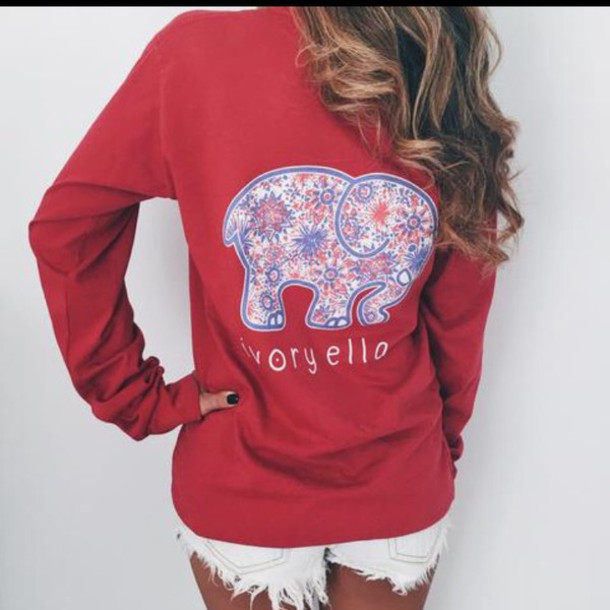 shirt elephant print red sweater