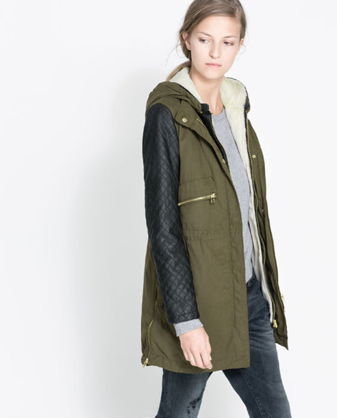 coat zara jacket leather quilted army green jacket utility jacket leather sleeves leather jacket quilted jacket quilted Khaki coat