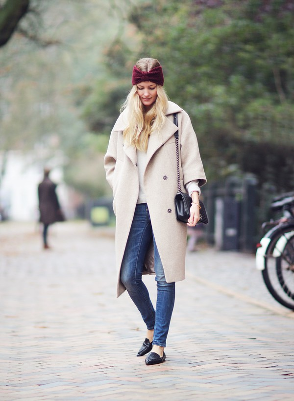 passions for fashion blogger jeans bag hair accessory turban winter coat coat sweater shoes jewels