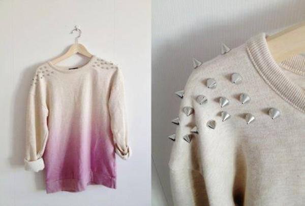 sweater borchie white