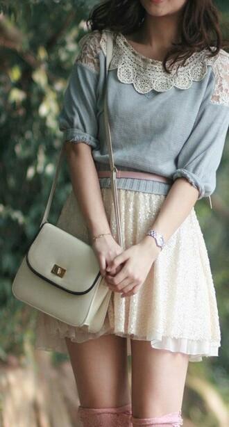 skirt top jumper blue white cute soft lace lovely shirt