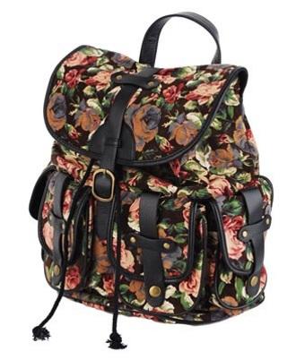 bag floral backpack knapsack