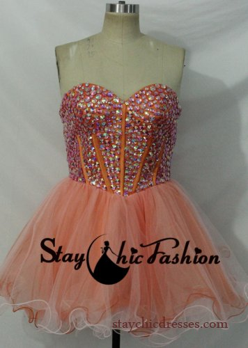 Orange Short Strapless Rhinestone Beaded Top Corset Style Ruched Prom Dress [SC-573] - $160.00 : Prom Dresses On Sale, Semi-formal Dresses Online|StaychicDresses