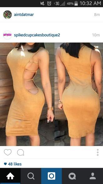 dress tan dress holes in dress