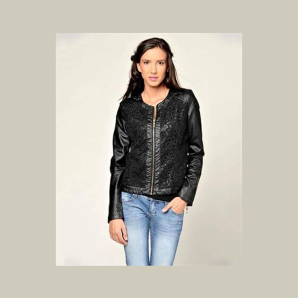 lace zipper black jacket floral faux leather women embroidered