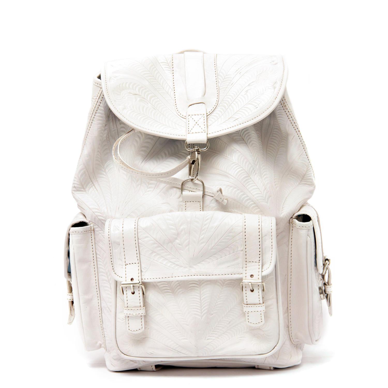 Jubileo tooled leather backpack white