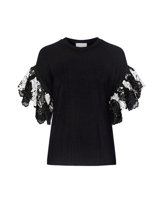 t-shirt shirt lace white black top