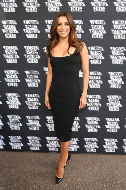 dress bodycon dress midi dress black dress cannes pumps eva longoria shoes  black celebrity celebrity celebstyle fb7e34ddcc5e