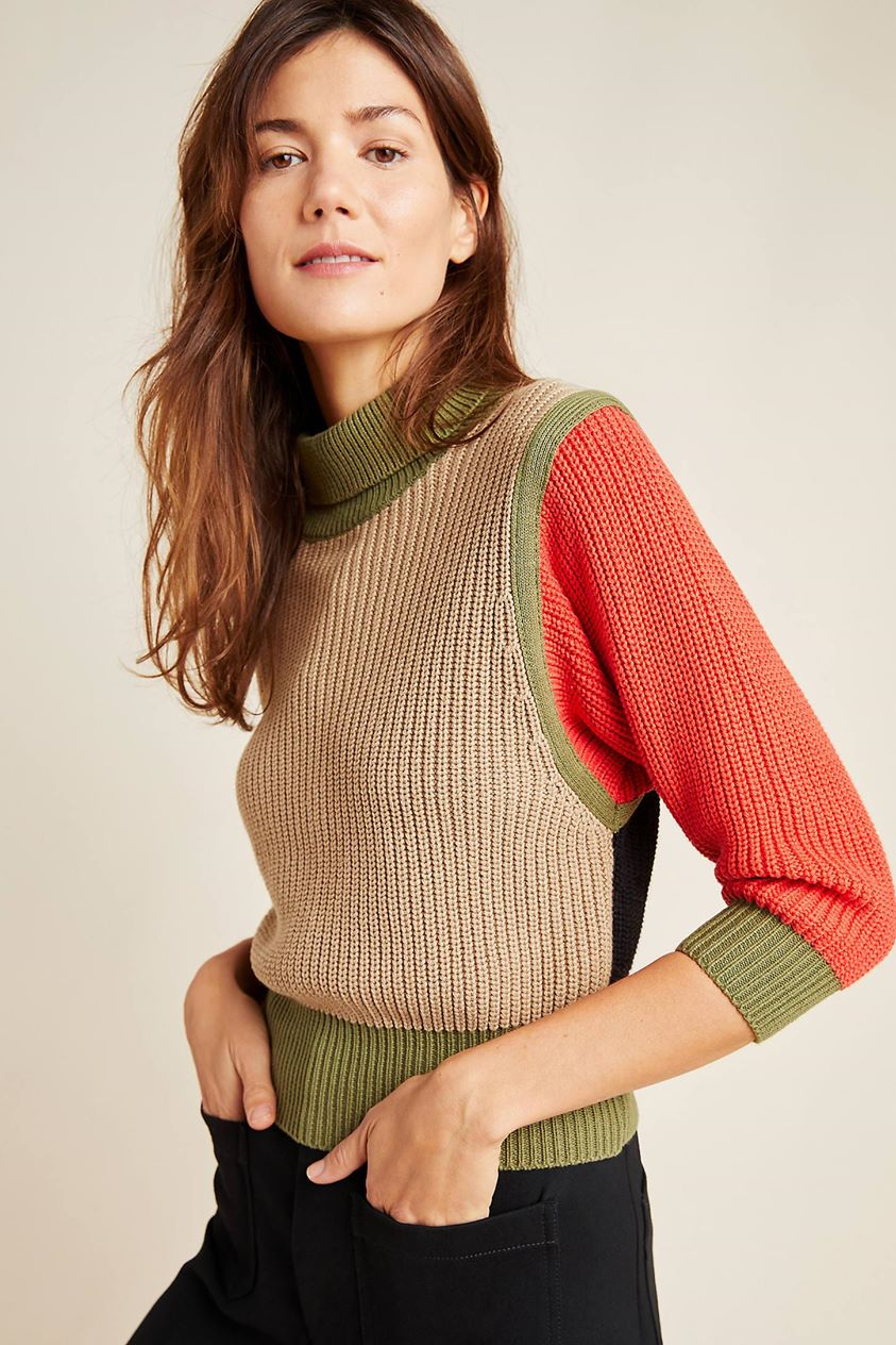Ruthie Colorblocked Turtleneck Sweater by Callahan in Assorted