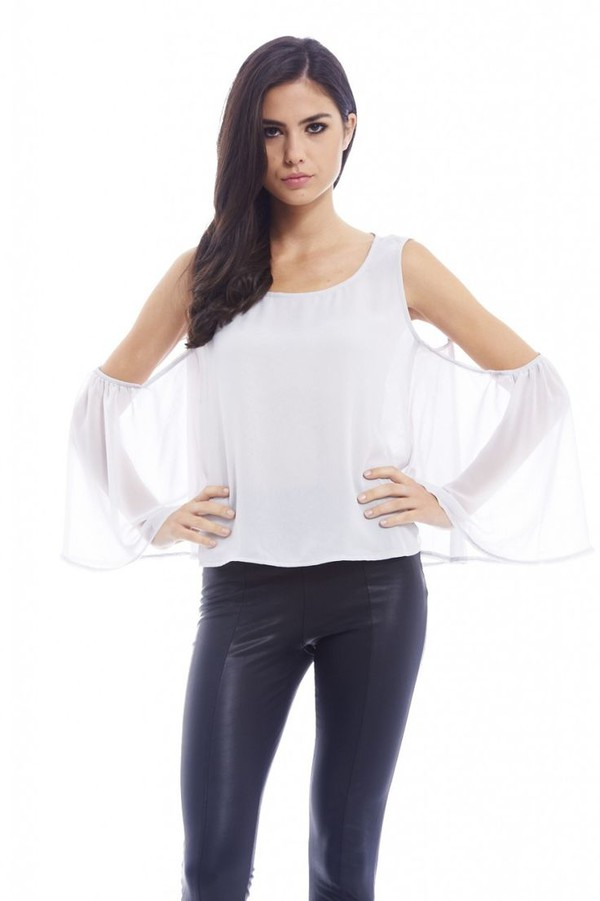 blouse silver blouse silver chiffon chiffon top cut out shoulder long sleeve top www.ustrendy.com