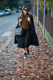 style and trouble,blogger,bag,sunglasses,striped sweater,vans,long coat,culottes