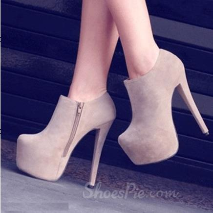 Fashionable Green Suede Side Zipper Decoration Ankle Boots