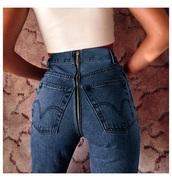 jeans,back-zip,buttzipper jeans,butt jeans,high waisted,blue,zipper jeans,blue jeans