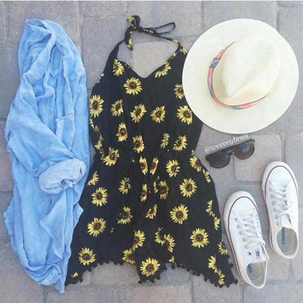 dress blouse hat jeans flowers black grunge cool summer floral dress summer dress simple dress