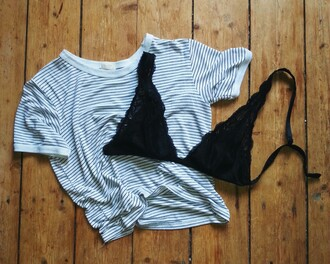 striped shirt stripes bralette
