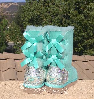 bows mint ugg boots diamonds faux fur