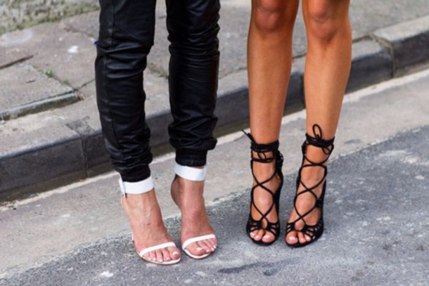 Shoes High Heels Black White Strappy Sandals Heels
