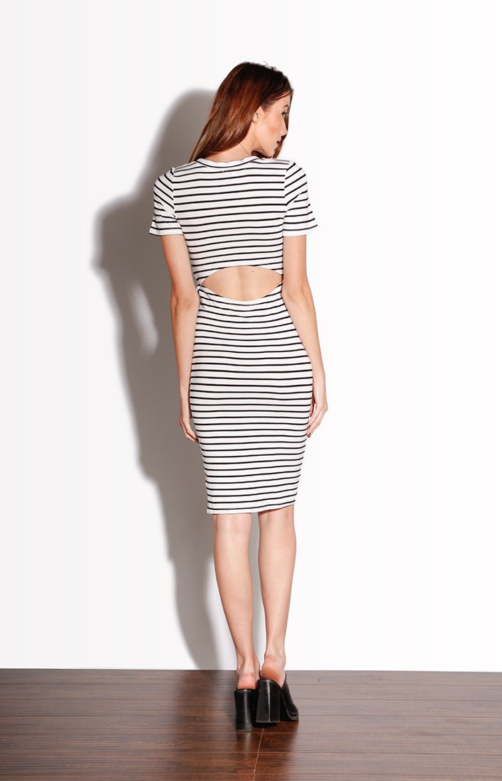 Striped Stretch Midi Dress
