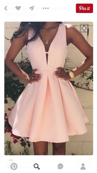 dress skater pink dress