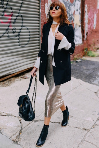 le fashion image blogger blouse jacket skirt shoes white blouse silver skirt midi skirt backpack ankle boots metallic skirt blazer outfit idea sequin skirt theclosetheroes