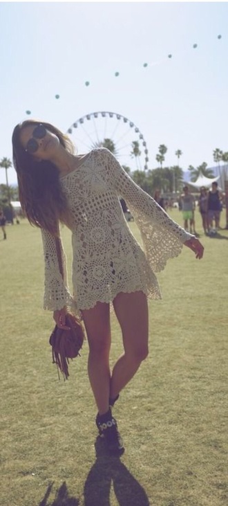 dress lace cream boho hippie