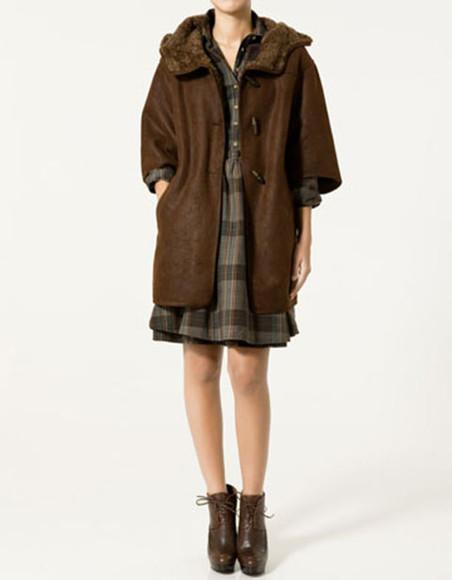 coat duffle coat brown shearling shoes