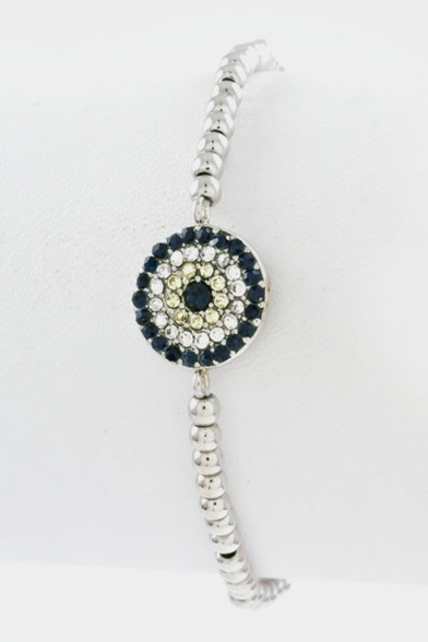 Crystal evil eye beaded stretch bracelet