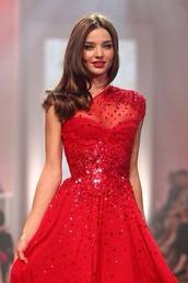 dress,miranda kerr celebrity,red,red dress,red lipstick,cute,cute dress