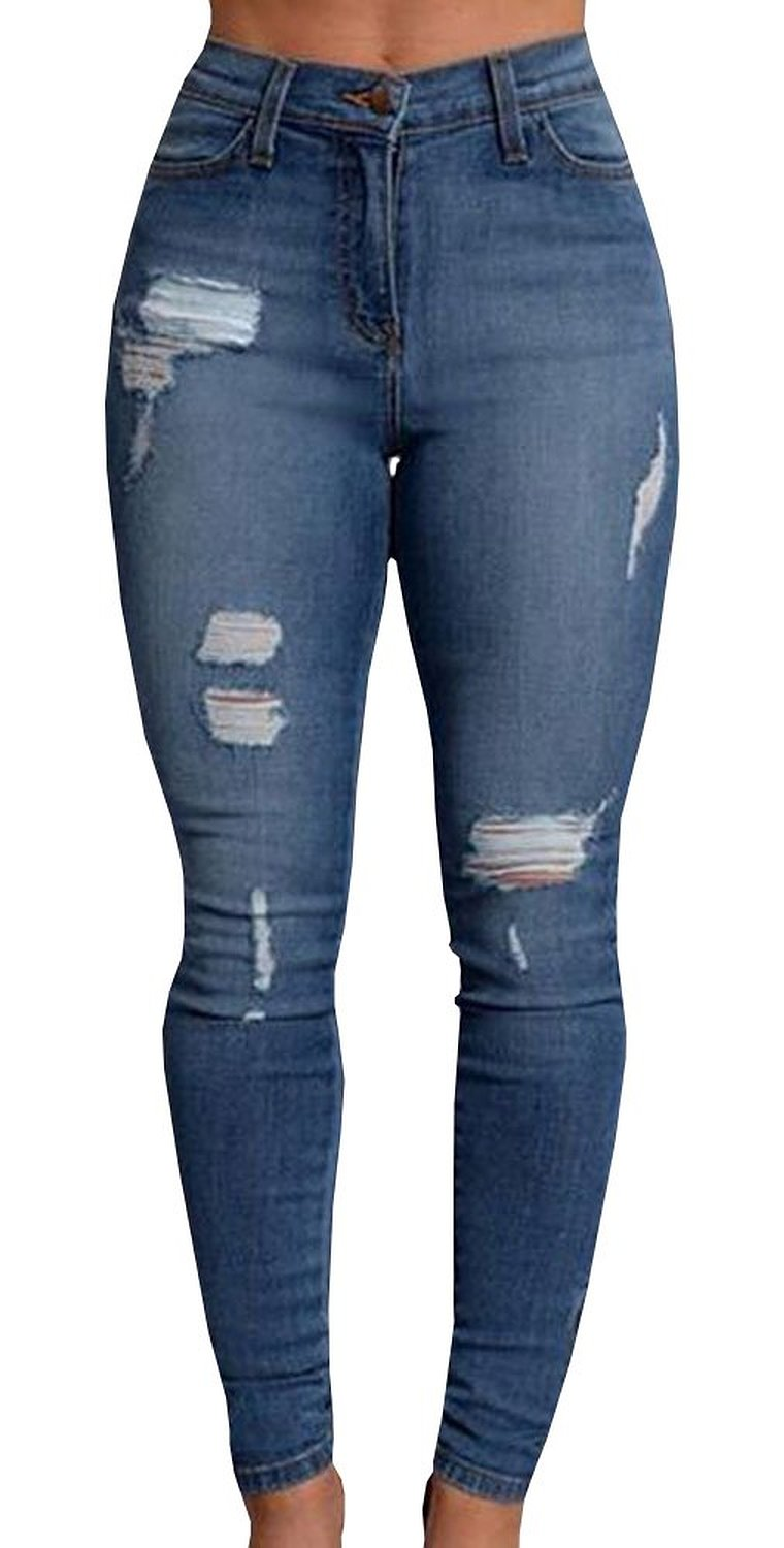 Women's New Denim Stretch Jeans Skinny Ripped Distressed Pants at ...