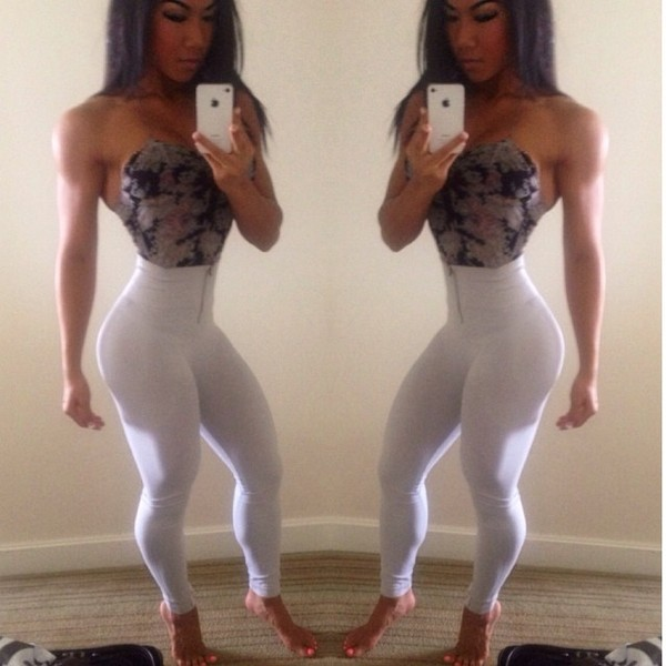 leggings white high waisted pants fitness jeans