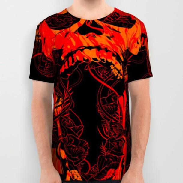 c4ff3ef0d shirt red and black skull t shirt flowers vines texture mens t-shirt womens  tees
