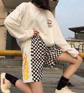 shorts,checkered,fire,flames