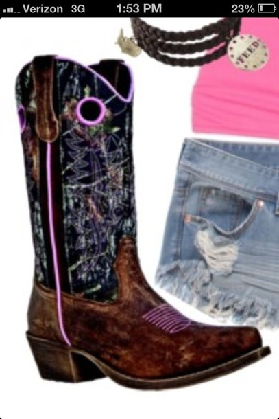shoes cowboy boots camouflage pink edit tags