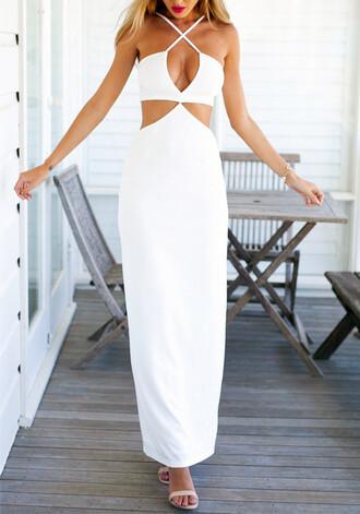 dress maxi dress maxi white white dress white maxi dress cut-out dress cutout maxi dress