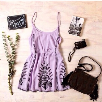 dress short light purple dress black detail