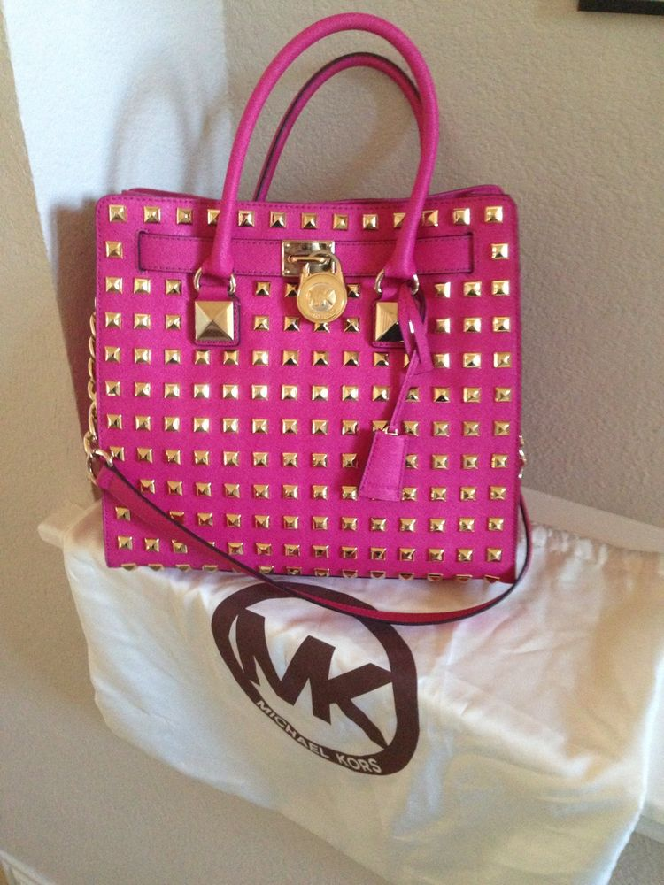 Michael Kors Large Pink Studded Leather Hamilton Handbag RARE | eBay