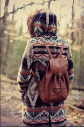 bag,jacket,tribal jacket,tribal pattern,warm,fall outfits,faux fur,backpack,faux fur jacket,leather backpack