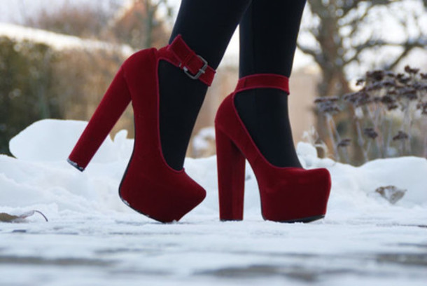 Shoes: red, velvet, high heels, mary jane, tights, velvet shoes ...