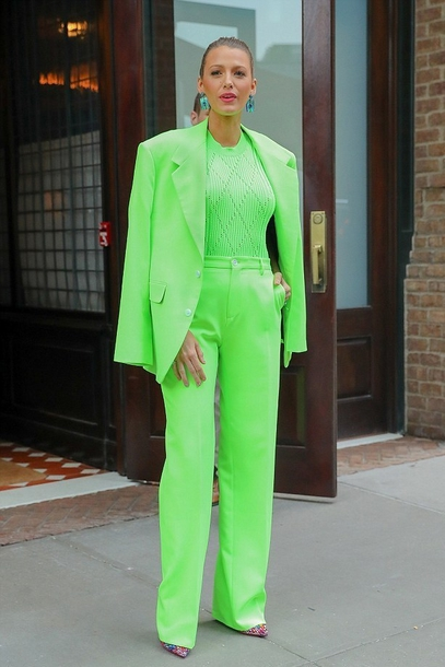 shoes neon top pants blake lively suit celebrity